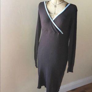 Polkadot | Brown Thermal Faux Wrap Midi Dress | M
